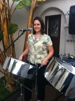 Abby Savell on tenor pan and vocals in Long Beach